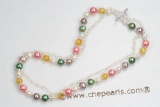mpn329 Sterling Silver blend of colors Freshwater Potato Pearl Necklace