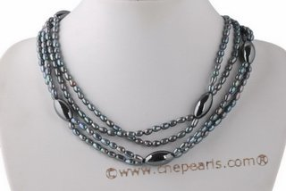 mpn330 Four Rows Black Freshwater Rice Pearl Layer Necklace
