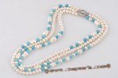 mpn332 Elegant Hand knotted Potato Pearl and Turquoise Layer Necklace