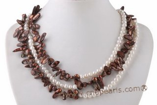 mpn333 Designer Hand knotted White and Coffee Cultured Pearl Layer Necklace
