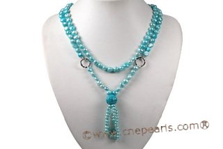 mpn335 Smart 8-9mm Blue Nugget Pearl and Turquoise Layer Necklace