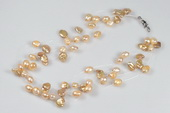 Mpn344 Lovely Summer Day Champagne Keshi Pearl Illusion Necklace