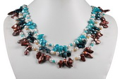 Mpn345 Summer Coloured Freshwater Cultured Pearl Layer Necklace