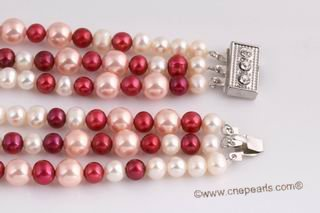 Mpn347 Multi color three strand freshwater pearl necklace with sea shell  pearls