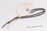 Mpn348 Double-strands white & black freshwater potato pearl necklace
