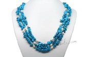 Mpn351 White Rice Pearl Layer Necklace with Turquoise Fragments