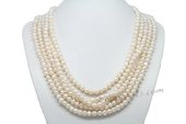 Mpn352  Elegant Five Rows Hand knotted Cultured Pearl Layer Necklace