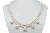 Mpn353 Designer Double Rows Cultured Pearl Necklace Drop With Large Pearl