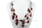 Mpn354 Handcrafted White Coin Pearl and Agate Beads Layer Necklace