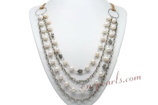 Mpn355 Hand Wired 8-9mm White Potato Pearl Silver Toned Layer Necklace