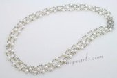 Mpn360 Elegant Hand Crafted White Seed Pearl Layer Necklace