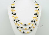 Mpn362 Stylish three-rows freshwater pearl necklace with Gemstone