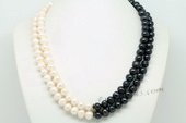Mpn364 Hand Knotted White&black Freshwater Potato Pearl Layer Necklace