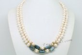 Mpn365 Double Rows Freshwater Potato Pearl Layer Necklace
