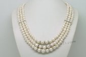 Mpn369 Three Layer Rows Cultured Potato Pearl Necklace