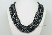 mpn370 Stylish Hand knotted Black Cultured Pearl Layer Necklace