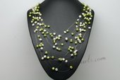 MPN371 Lovely White&Green Nugget Pearl floating illusion necklace