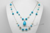 mpn372 Elegant Freshwater Potato Pearl Layer Necklace with Turquoise