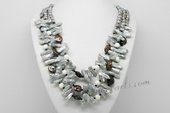 MPN379 Timeless Layer Necklace with Grey Cultured Pearl and Deep Sea Tridacna Beads