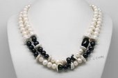 MPN382 Double Row Freshwater Pearl Necklace with Potato Pearls with Coin Pearl