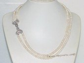 mpn386 two strands 6-7mm white button freshwater pearl necklace