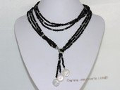 mpn387  black man made crystal beads necklace adjustable lariat necklace with coin pearls