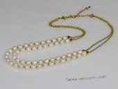 mpn388   Two strand 6-7mm White potato Freshwater Pearl Gold Tone Chain Necklace