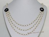 mpn389  Hand knotted 7-8mm white rice pearl multi-strand layer necklace