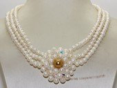 mpn393 5-6mm white potato pearls multi strand necklace