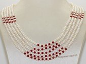 Mpn394 White  color Small  freshwater Seed pearl necklace with red coral