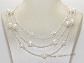 mpn395  Multi-strand  white crystal beads necklace with freshwater potato pearl