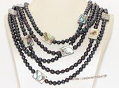 mpn396 Multi-strands black  cultured freshwater pearl necklace with shell pearl