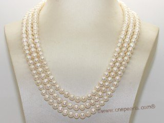 mpn398  Cultured Freshwater  Potato Pearl Necklace In Three Rows