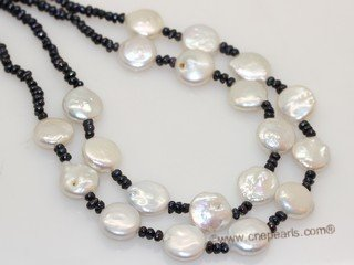 mpn401 Double strand   black freshwater button pearl necklace with coin pearl