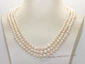 mpn402 Graduated Cultured Freshwater  Potato Pearl Necklace In Three Rows