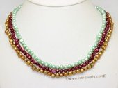 mpn410 Designer Hand knotted Mix Color Cultured Pearl Layer Necklace