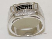 mrj006 Black and White Cubic Zirconia Sterling Silver Men&#39s  Ring
