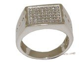 mrj010 Elegant Sterling Silver Men&#39s Ring Cubic Zirconia  Paved