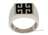 mrj011  Sterling Silver  Black Enamel Designs Men&#39s Ring