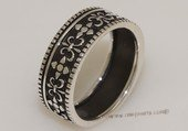 mrj017 Sterling Silver Black Enamel Fleur de Lis Men&#39s Ring