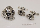 mtj022 Sterling Silver Skull Design Cufflinks &Ring Men&#39s Jewelry Set