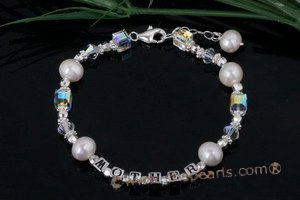 "Nbr005 ""Mother & Child"" Pearl& crystal name bracelets"