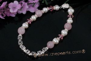 "Nbr007 ""Believe"" pearl& rose quartz Name Bracelet"