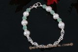 "Nbr009 ""Claudia"" pearl and jade baby Name Bracelet"