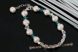 "Nbr010 ""Daniella"" pearl &crystal personalized name bracelet"