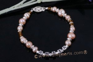 "Nbr012 ""Amaia"" sterling silver pink pearl Name Bracelet"