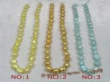 ngs013 5strands 8*10mm dye color Freshwater Baroque pearls