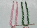 ngs014 5strands 8*10mm dye color Freshwater Baroque pearls