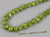 ngs021 5strands 9-10mm green Freshwater Baroque nugget pearls