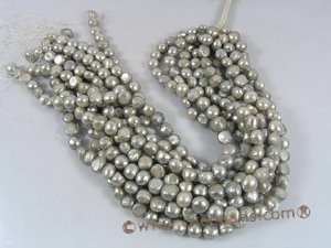 ngs022 10-11mm grey Freshwater Baroque nugget pearls strands